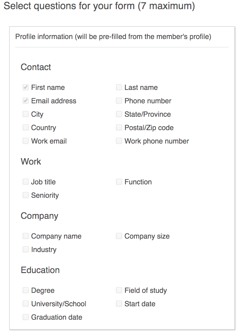 Select fields which you want user to fill in form