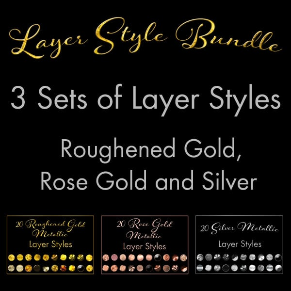 60 Layer Styles Bundle – Gold Metallic, Rose Gold, Silver Metallic