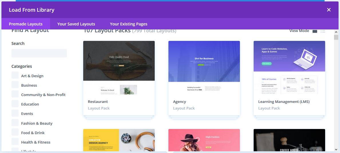 Pre-Made Layouts Available for Quick Website Creation in Divi WordPress Theme