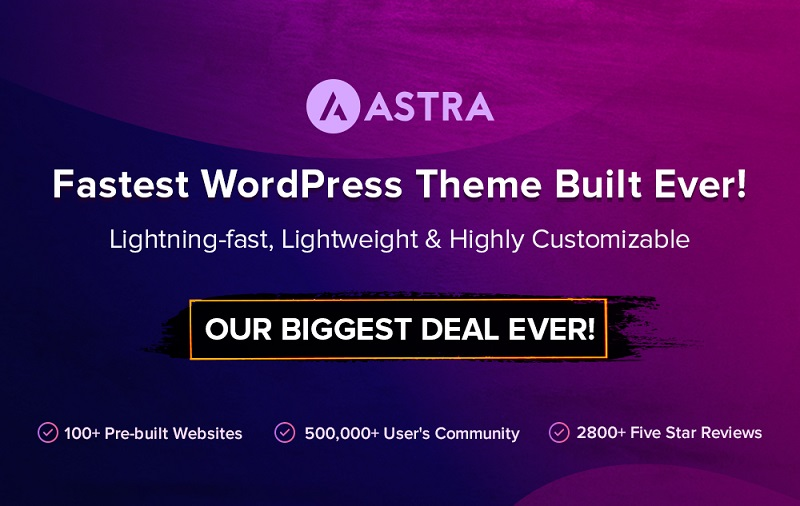 WP Astra Theme Black Friday 2019 - Get 30% Discount on All Plans