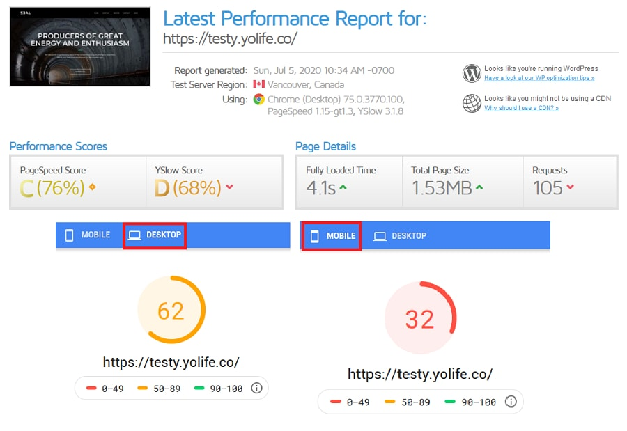 Unoptimized Website Performance on GTMetrix and Pagespeed Insights
